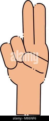 Mano con due dita in su su sfondo bianco, illustrazione vettoriale Foto Stock