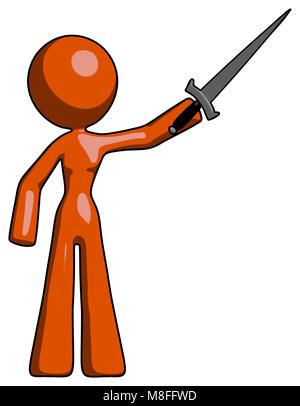 Disegno arancione mascotte donna la spada in aria vittoriosamente Foto Stock