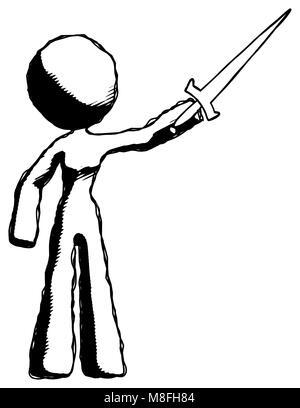 Disegno a inchiostro donna mascotte la spada in aria vittoriosamente Foto Stock