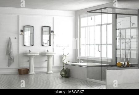 Bagno con doccia sotto la finestra. per i prodotti da bagno potresti