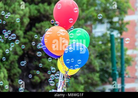 Colorate bolle di sapone e palloncini con nastri di colore arcobaleno su uno sfondo sfocato di verdi alberi e cespugli Foto Stock