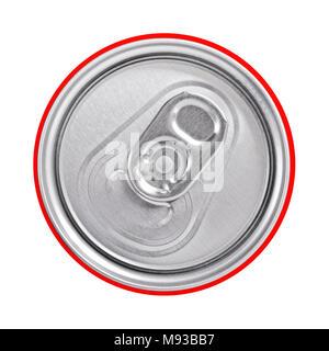 In alto di una lattina per bevande con un anello di trazione, vicino. Foto Stock