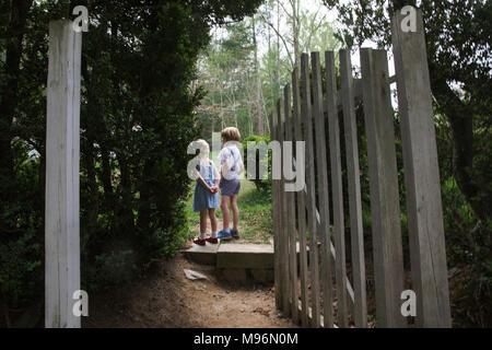 Due bambini esaminando la distanza con il cancello aperto Foto Stock