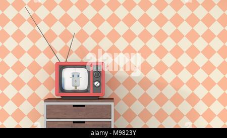 Anchorwoman femmina sulla cassettiera in Tv retrò, rendering 3D Foto Stock