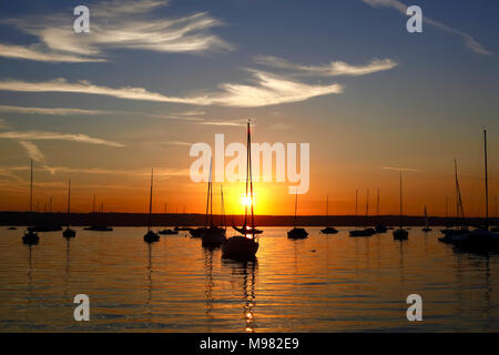 In Germania, in Baviera, Ammersee al tramonto Foto Stock
