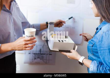 Femmina di architetti che lavorano su un progetto Foto Stock