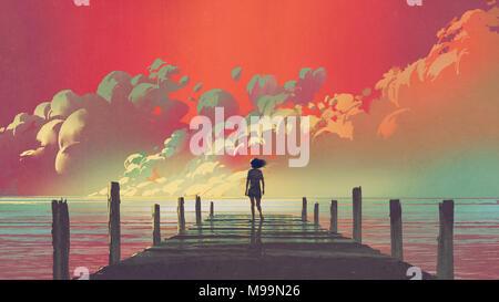 Lo splendido paesaggio della donna in piedi da solo su un molo in legno guardando le nuvole colorate nel cielo, arte digitale stile, illustrazione pittura