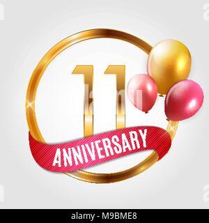 Anniversario 11 Anni Matrimonio.Modello Logo Oro 11 Anni Di Anniversario Con Nastro E Palloncini
