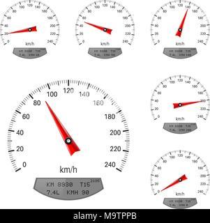 I tachimetri. Round scala di velocità Foto Stock