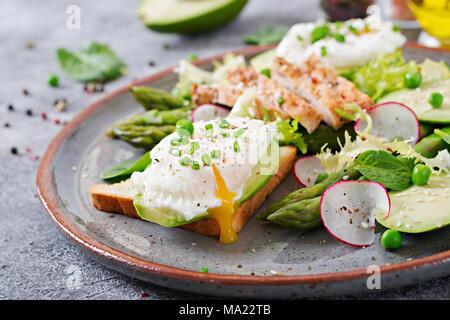 Una sana prima colazione. Uova in camicia su toast con avocado, asparagi e filetto di pollo alla griglia. Foto Stock