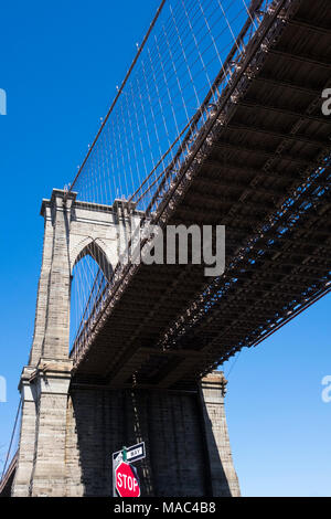 Guardando verso l'alto sotto il ponte di Brooklyn a New York Foto Stock
