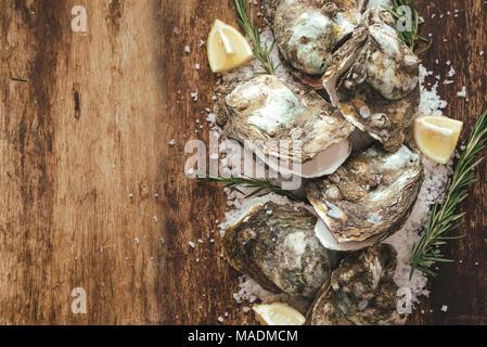 Dozzina di ostriche fresche sul legno e sale marino. Vista superiore Foto Stock