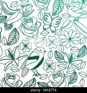 Vintage di sfondo fiori delicati uccelli farfalle illustrazione vettoriale degradato colore verde Foto Stock