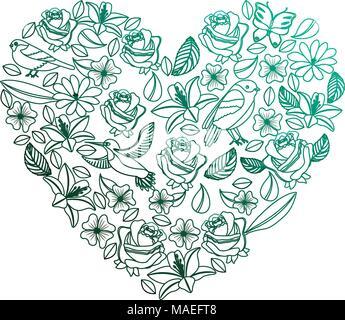 Cuore naturale pattern con fiori e uccelli farfalle lascia illustrazione vettoriale degradato colore verde Foto Stock