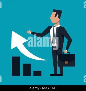 Imprenditore con valigetta ventiquattrore su frecce crescente Foto Stock