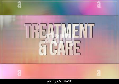 Trattamenti e cure mediche e medicine parole concettuale, con volteggiano e colorata come sfondo per la pagina web e graphic design, catalogo o di sfondo. Foto Stock