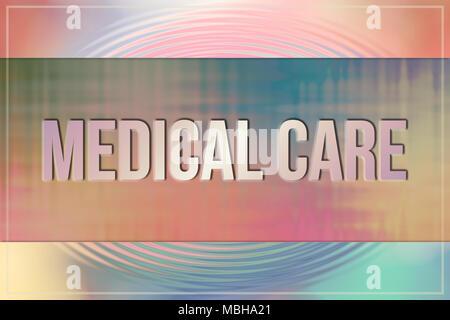 Medical care parole concettuale, con volteggiano e colorata come sfondo per la pagina web e graphic design, catalogo o di sfondo. Foto Stock