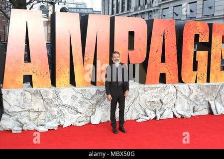 Londra, Regno Unito. 11 Aprile, 2018. Jeffrey Dean Morgan, Rampage - Premiere europeo, Leicester Square, Londra, Regno Unito, 11 aprile 2018, Foto di Richard Goldschmidt Credito: ricca di oro/Alamy Live News Foto Stock