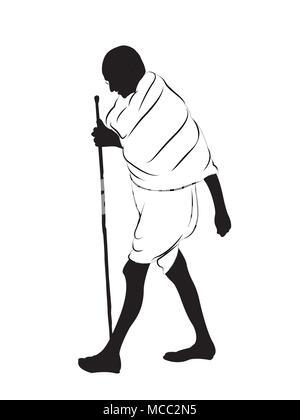 Il Mahatma Gandhi walking.leader di combattenti per la libertà e il padre della nazione. Foto Stock