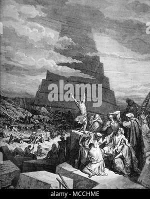 La confusione delle lingue. la bibbia illustrazione di Gustave Doré. Foto Stock