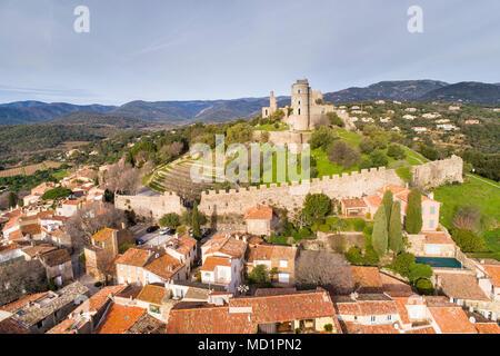 Francia, Var, golfo di St Tropez, villaggio di Grimaud Foto Stock