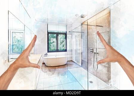 Illustrazione sognando schizzo di una vasca da bagno in corian ...