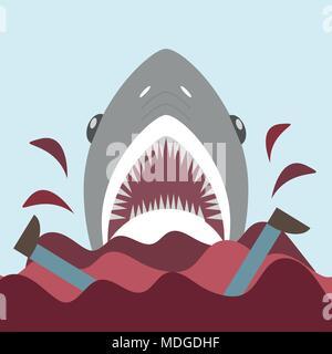 Bloody shark con bocca aperta. sul rosso onde vettore nel piatto