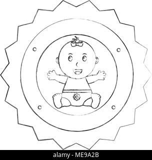 Incantevole piccola ragazza seduta etichetta happy baby doccia