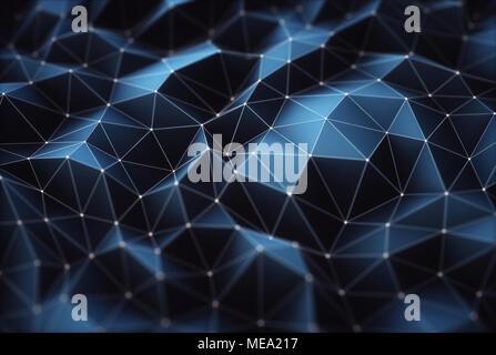 3D'illustrazione. Immagine astratta, collegamenti in linee e forme geometriche. Concetto di tecnologia per uso come sfondo. Foto Stock