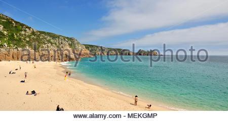 Porthcurno Beach, Cornwall, England, Regno Unito Foto Stock
