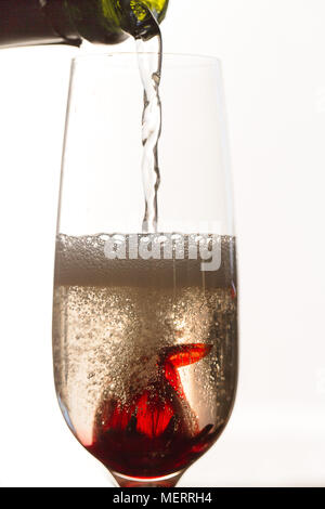 Versando vino bianco frizzante su fiori di ibisco in vetro Foto Stock
