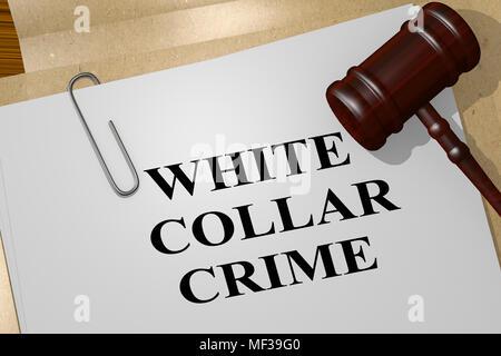 3D illustrazione di White Collar Crime titolo sul documento legale Foto Stock