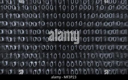 3D Rendering di binario codice di computer con messa a fuoco morbida dello sfondo Foto Stock