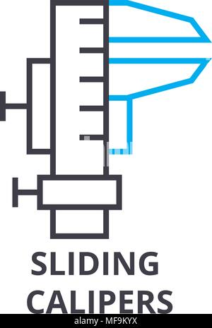 Calibri di scorrimento sottile linea icona, segno, simbolo illustation, concetto lineare, vettore Foto Stock