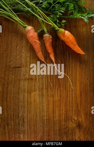 Mature le carote sul legno scuro dello sfondo. Foto Stock