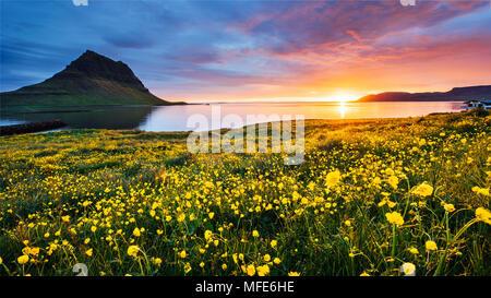 Il pittoresco tramonto su paesaggi e cascate. Montagna Kirkjufell,Islanda Foto Stock