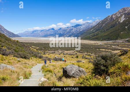 Parco nazionale di Mount Cook boardwalk percorso del ghiacciaio di Tasmania nuova zelanda isola del sud della Nuova Zelanda Foto Stock