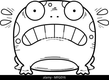 Un cartoon illustrazione di una rana cercando spaventata. Foto Stock
