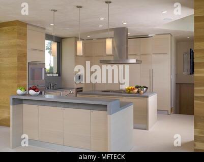Cucina moderna con le luci pendenti sopra isola unità di casa