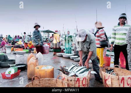 Il mercato del pesce di Kampot, Cambogia