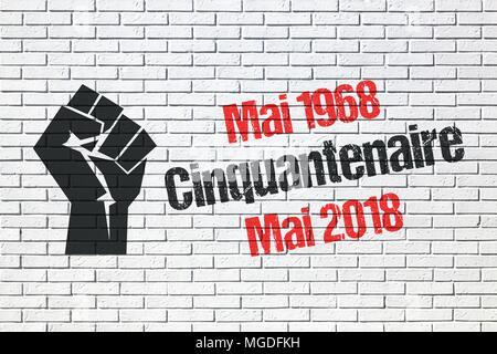 Maggio 1968 eventi in Francia, cinquantesimo anniversario Foto Stock