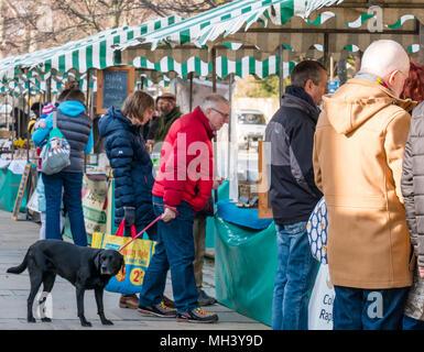 La gente la navigazione outdoor bancarelle del mercato, Haddington Farmers Market, luogo d'Aubigny, Court Street, East Lothian, Regno Unito Foto Stock