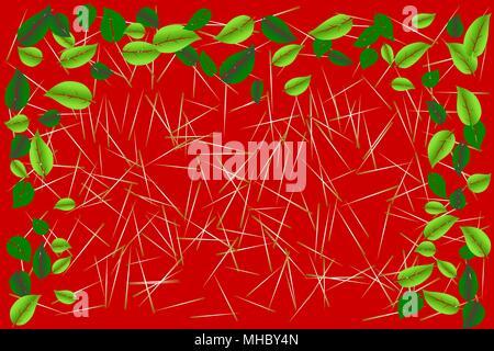 Foglie di colore verde cornice di frontiera su piccoli bastoni di legno a trama rosso su sfondo colorato. Illustrazione vettoriale EPS, 10. Foto Stock