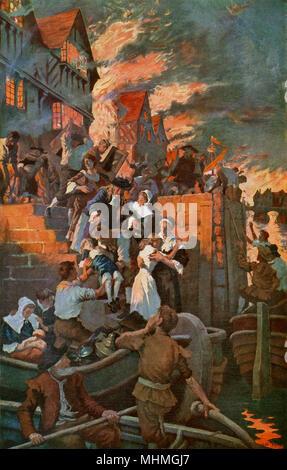 I cittadini sfuggono alle fiamme in barca come il fuoco si avvicina al Tamigi Data: 2 - 6 Settembre 1666 Foto Stock