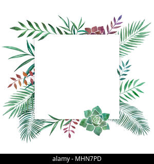 Disegnato a mano illustrazione ad acquerello di diverse piante. Decorativa cornice grafica per il branding di nozze e inviti carta regalo. Isolato su bianco Foto Stock
