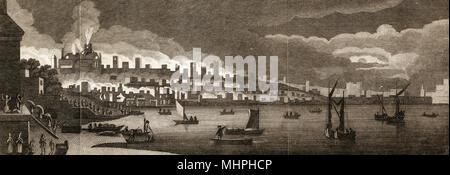 Vista di Londra attraverso il Tamigi durante il Grande Incendio di Londra Data: 2 settembre 1666 Foto Stock