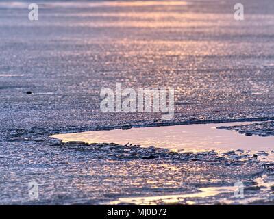 Shiny freddo pezzi di ghiaccio su chiari glaçon. Struttura del ghiaccio naturale nella messa a fuoco selettiva di una fotografia. I colori vivaci del tramonto polare.