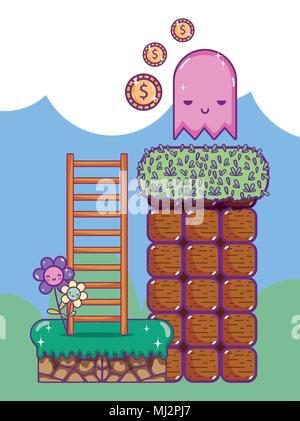 Pixel retrò scenario videogioco Foto Stock