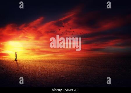 Paesaggio surreale vista come una ragazza silhouette sullo splendido sfondo del tramonto guardando a uno stormo di uccelli che vola in alto nel cielo. La vita il concetto di viaggio. Foto Stock