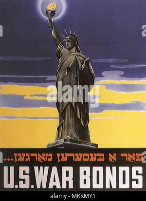 Obbligazioni di guerra Poster in ebraico Foto Stock